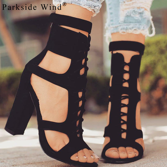 Parkside Wind Flock Women Sandals Gladiator High Heels Strap Pumps Lace-up Female Shoes Fashion Summer Ladies Shoes XWC1020-45