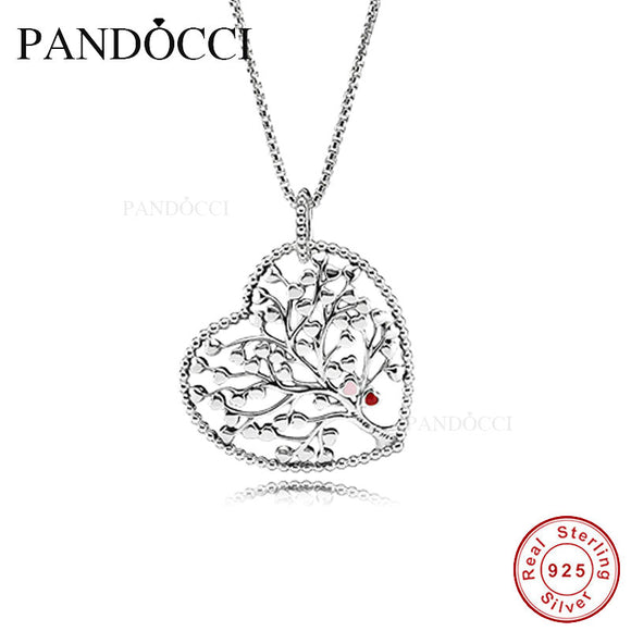 2018 Valentine Tree of Love Necklace Mixed Enamel 925 Sterling Silver Bead Fit Pandora
