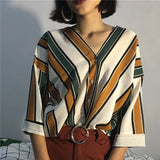 2018  Spring  Autumn  new fashion casual women stripes sexy V-neck batwing sleeve