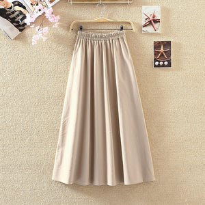 2018 Spring Women Long Skirts Vintage Cotton And Linen High Waist Women Skirts