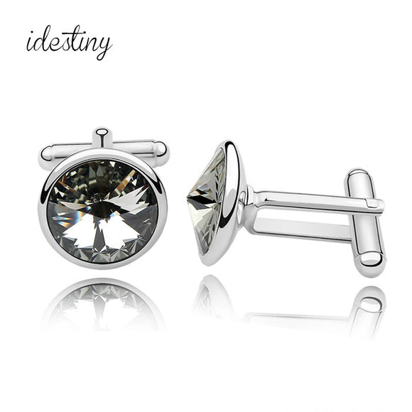 Top Selling Genuine Silver Color Plated Fathers Day Gifts Austria Crystal Shirt Cuff links for Mens Best Father's Day