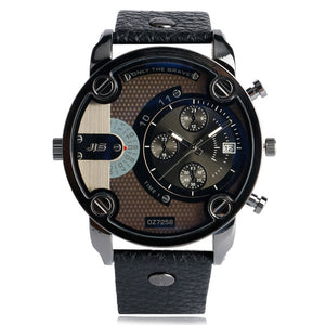 2018 Cool Big Men Watch Date Black/Brown Leather Luxury Man's Quartz Army Wristwatches