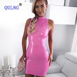 2018 New Fashion Pink PU Leather Dress Sexy Women Brighter Zipper dresses Solid