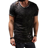 HOT Fashion Summer Ripped Clothes Men Tee Hole Solid T-Shirt Slim Fit O Neck