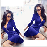 2018 New Spring Sexy V-Neck zippers A-Line dress vestidos fashion Women red blue 3/4
