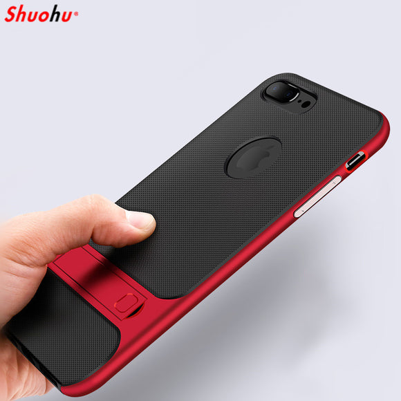 Shuohu Shockproof Phone Cases for Iphone 7 6 6S 8 Plus Case Luxury Kickstand Black Silicone Protective Cover Case for Iphone X