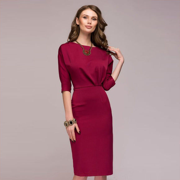 16f479381f Summer Dress 2018 New Fashion Elegant Office Women's Dress Half Sleeve O- Neck Knee-