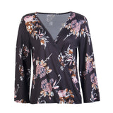 2018 Long Sleeve Women's Shirts V Neck Floral Printed Casual Blouse Tops Flower Fitness