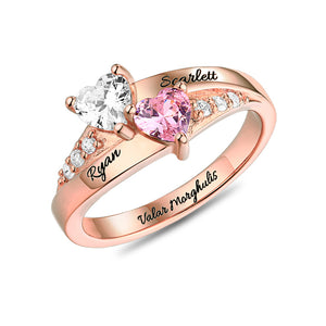 Personalized Rings For Women Double Heart Birthstone Ring For Love Rose Gold Color