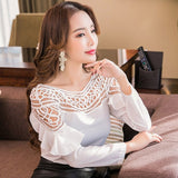 2018 New Chiffon Blouses Shirts Women Spring Ruffle Long Sleeve Ladies Tops Hollow