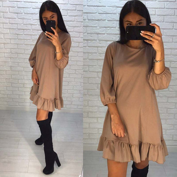2018 Spring New Arrival Dress Women Casual three quarter Lantern Sleeve O-neck Hem