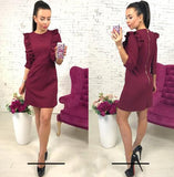 2018 Spring new women's Ruffles dress casual o-neck 3/4 sleeve Tunic dresses back zipper bodycon party Vestidos