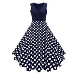 2018 Spring Fashion Vintage High Waist Floral Polka Dots Printed Big Swing Dress Casual
