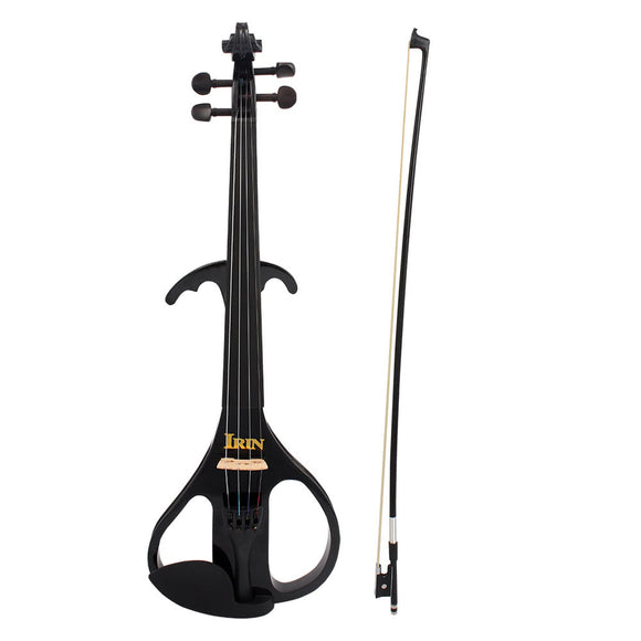 4/4 Full Size Electric Violin Fiddle Maple Wood Stringed Instrument Ebony Fretboard Chin