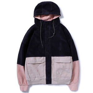 MCCKLE 2018Spring Color Block Patchwork Corduroy Hooded Jackets Men Hip Hop