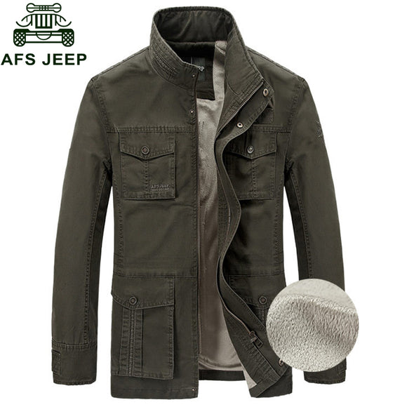 Afs Jeep Brand Jacket Men 2018 Winter Jacket Men Fleece Warm Outerwear Casual Loose