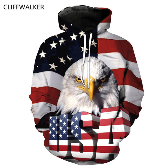Dropshipping  Harajuku Hooded Sweatshirt Women Men's Eagle American Flag 3D Hoodie