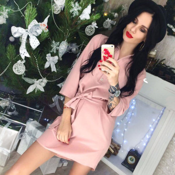 2018 newest fashion Women Office Work Dark blue Pink shirt dress Summer three quarter sleeve Beach Party Casual Loose belt dress