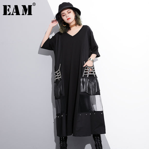 [EAM] 2018 new spring V-collar sleeve black hollow out gauze split joint tassels big size