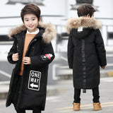Boys Winter Jackets 2017 Fashion White Duck Down Big Fur Collar Warm Coat 6-16 Years