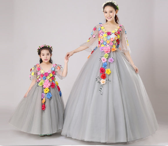 Family-look  Mother Daughter Dresses for Weddings  2018 Summer Family-clothing