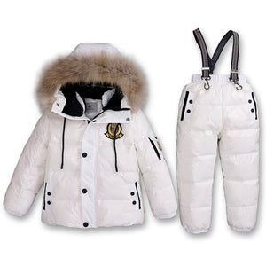 Boy Winter Ski Suits 2017 80% White Duck Down Jacket Girl Suit Overalls Children's