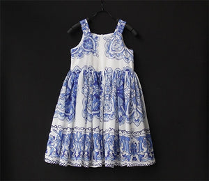 Summer Brand mom daughter birthday party dress kids toddle chiffon sling skirts family look outfit mother and girl beach dresses