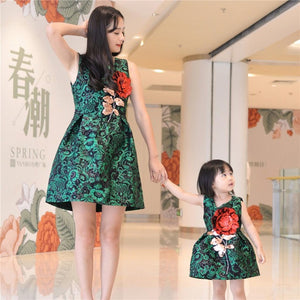 Mother daughter dresses clothes family look children's girls wear sleeveless vest dress