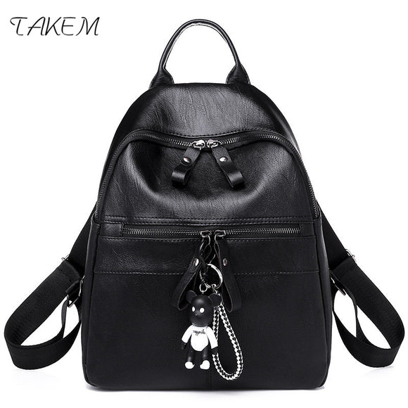 TAKEM 2018 NEW Women's backpack fashion shopping travel backpack shoulder bag PU soft surface technology