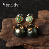 Venidy 2017 New 10-11mm Black Tahitian Pearls Drop Earrings  925 Silver Pearl Fine Jewelry Brand Luxury Sterling-Silver-Jewelry