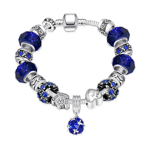 LUIISA AAA+ Cubic Zircon Diamond Glass Bead Silver Plated  Bracelet Ba