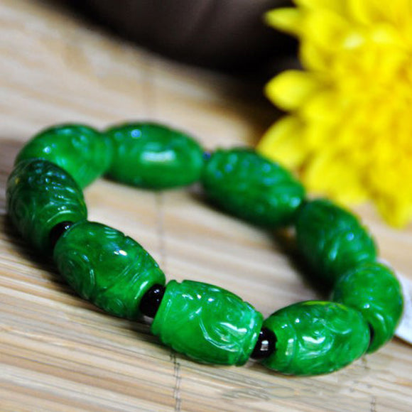 KYSZDL Natural green stone beads bracelet carved stone bracelet punk fashion men
