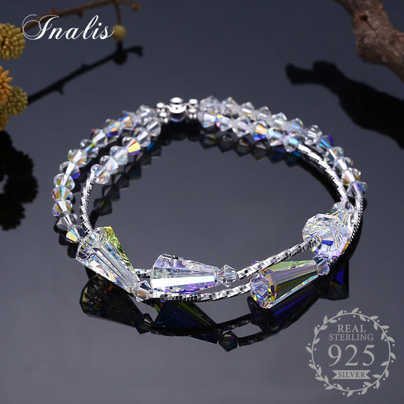 INALIS 925 Sterling Silver Clear Crystal Bracelets for Women Fine Jewelry Charm Bangles