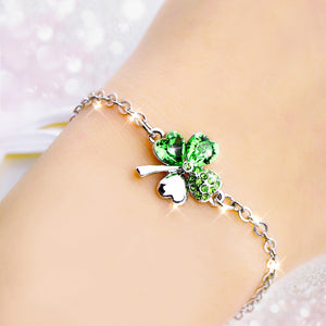 high quality fashion simple flowers cute Clover Austrian green crystal Simple style Lucky