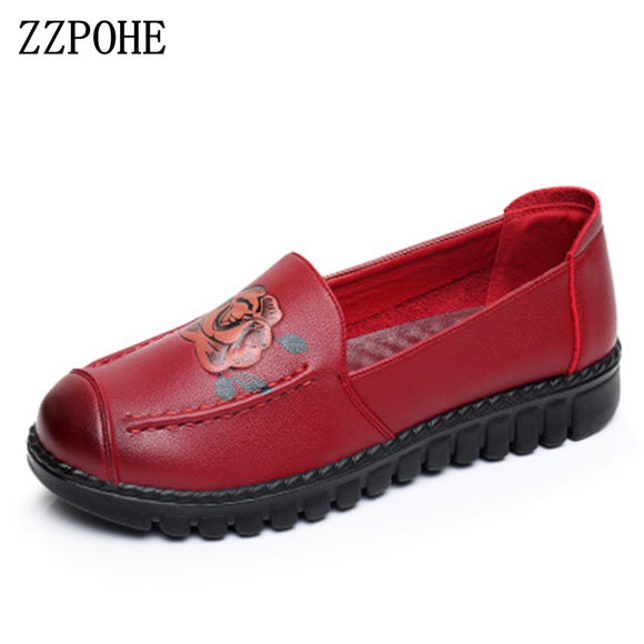 ZZPOHE Shoes Woman 2018 Genuine Leather Women Flats Shoes Mother Slip on casual