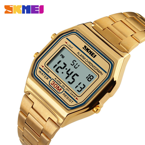 2018 new fashion gold men watch LED display quartz wristwatch casual top brand luxury