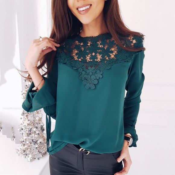 2018 spring new fashion women's chiffon boouse casual o-neck long sleeved lace patchwork