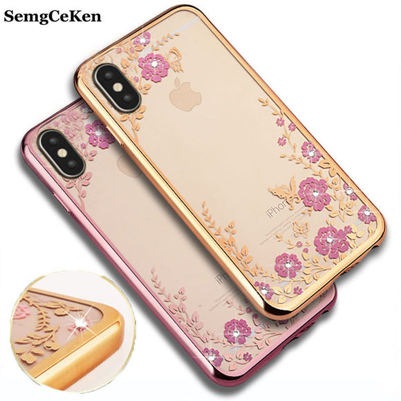 SemgCeKen luxury original rose gold tpu silicone phone case for apple iphone X silicon soft slim glitter coque cover for iphoneX