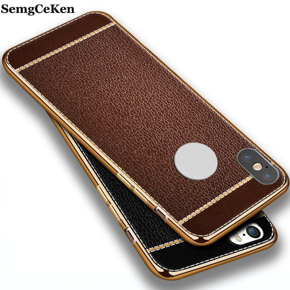SemgCeKen luxury coque cover case for apple iPhone X 10 tpu soft leather silicone silicon mobile phone back for iphoneX cases