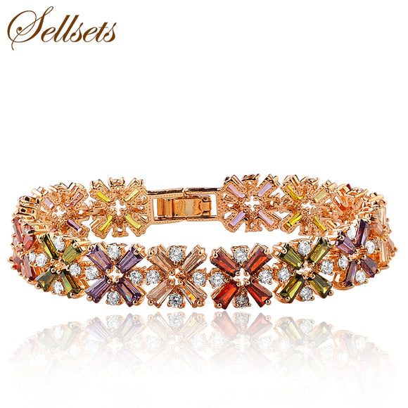 Sellsets High Technology  Gold Color Zircon Link Bracelet Multicolor Crossing Bracelets Bangles Luxurious Wedding Jewelry