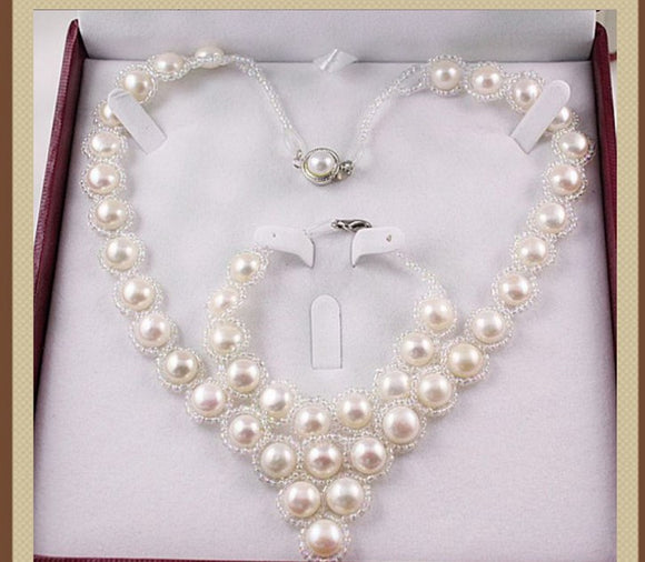 HOT CHEAP Real Freshwater Cultured Natural Pearl Necklace Bracelet Earrings Set