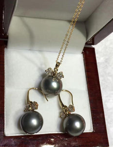 free shipping luxury Noble jewelry set of  Genuine Tahitian Black gray pearl pendant earring 10-11mm Bow tie pendant  necklace