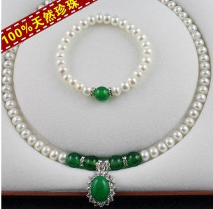 Wholesale Real Freshwater Pearl Jewelry Set, Fashion Necklace Bracelet Earrings Set for Women Bridal Wedding Jewelry Set