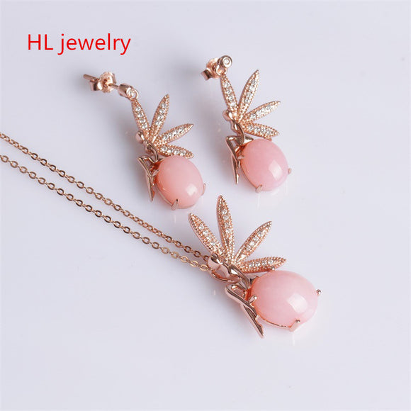 4.78CT Opal Jewelry 925 Silver Christmas Gifts Pink Opal Necklaces/Earrings For Women Natural Pink Opal Necklace Jewelry sets
