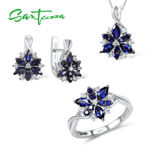 Silver Flower Jewelry Set  Blue Nano Cubic Zirconia Stones Ring Earrings Pendant Set 925 Sterling Silver Fashion Jewelry Set