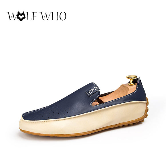 WolfWho Men's Shoes New Fashion Leather Loafers Driving Shoes Mocassins Spring Summer Casual Shoes Man Footwear Plus Size 38-47