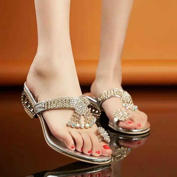 Summer Bohemia Gold/Silver Rhinestone Flip Flops Women Sandals Slippers Hollow Out Low Heel Shoes