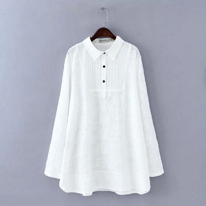 2018 spring plus size clothing white lace pullover basic shirt women top medium long loose