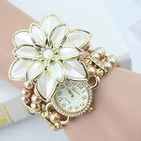 2018 Hot Sale Lady Luxury White Flower Bracelet Watches Women Fashion Pearl Quartz