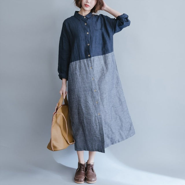 3f13a4592f5 ... Women Loose Striped Maxi Dresses 2018 Spring Autumn Cotton Linen Dress  Patchwork Long Sleeve Casual Vintage